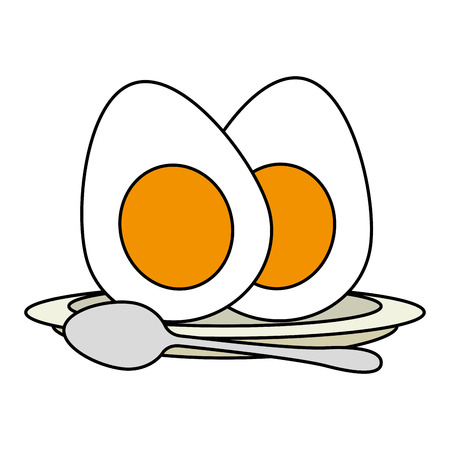 delicious boiled eggs menu vector illustration design