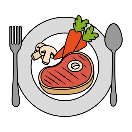delicious beef steak with carrots and mushroom vector illustration design Illustration