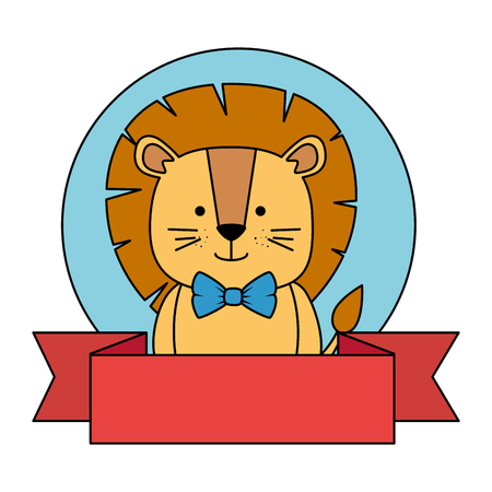 cute lion with ribbon character icon vector illustration design