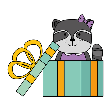 cute raccoon in gift character icon vector illustration design Illustration