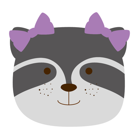 cute raccoon female head character icon vector illustration design
