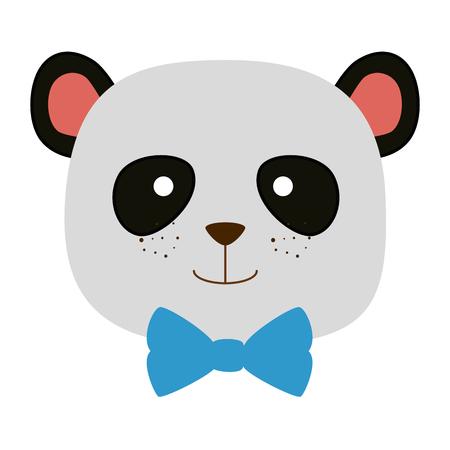 cute bear panda head character vector illustration design