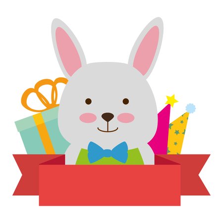 cute rabbit with gifts character icon vector illustration design
