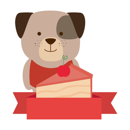 cute dog with cake portion character vector illustration design Ilustração