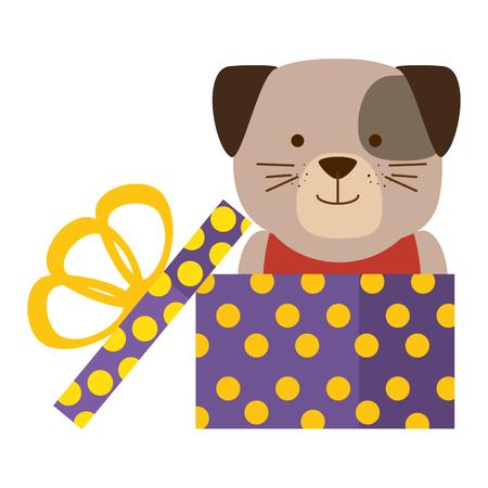 cute dog in gift character vector illustration design Illustration