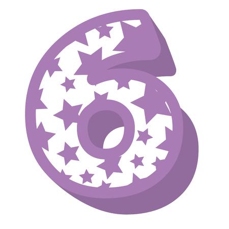 cute number six with stars pattern vector illustration design Иллюстрация