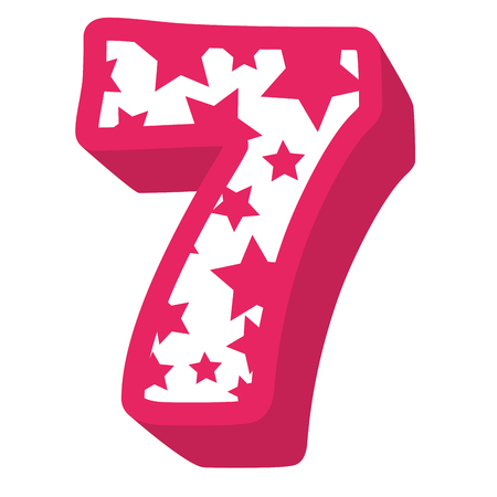 cute number seven with stars pattern vector illustration design