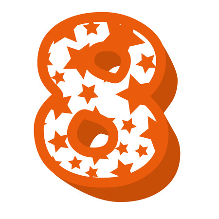 cute number eight with stars pattern vector illustration design