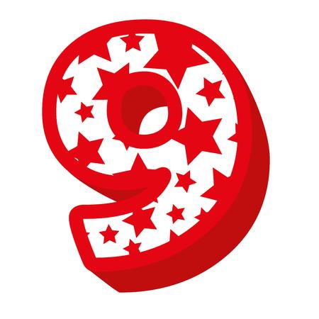 cute number nine with stars pattern vector illustration design Illustration