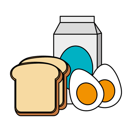 delicious boiled eggs with bread and milk vector illustration design Archivio Fotografico - 103326631