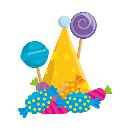 sweets lollipops and candies with party hat vector illustration design