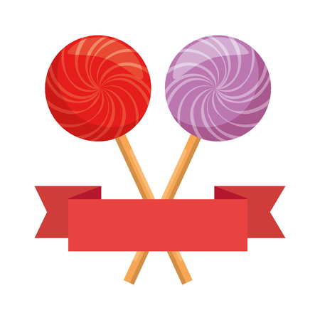 sweets lollipops with ribbon vector illustration design