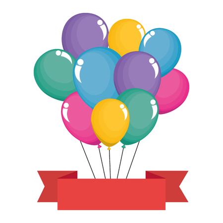 balloons helium floating with ribbon vector illustration design Illustration