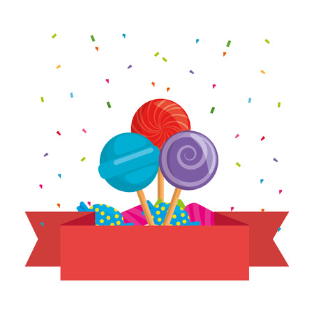 sweets lollipops and candies with ribbon vector illustration design Illustration