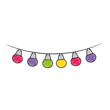 lights hanging decoration icon vector illustration design Illustration