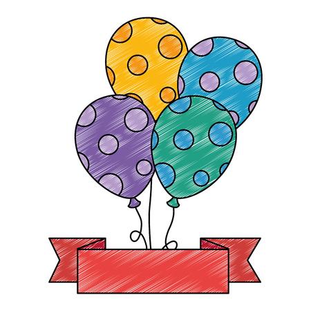 balloons helium floating with ribbon vector illustration design Çizim