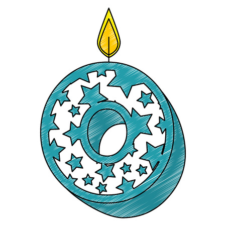 cute number zero candle with stars pattern vector illustration design Illustration