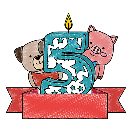 cute number five candle with dog and pig vector illustration design Illustration