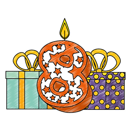 cute number eight with gifts vector illustration design