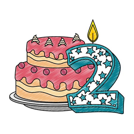 cute number two candle with sweet cake vector illustration design
