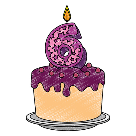 cute number six candle with sweet cake vector illustration design