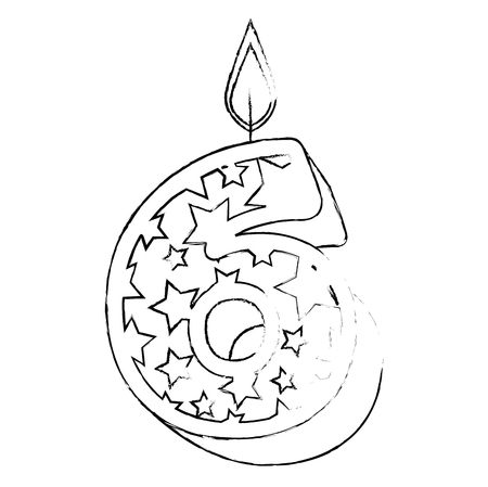 cute number six candle with stars pattern vector illustration design Standard-Bild - 103336658