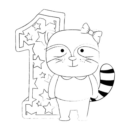 cute number one with cute raccoon vector illustration design Illustration