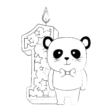 cute number one candle with cute panda bear vector illustration design