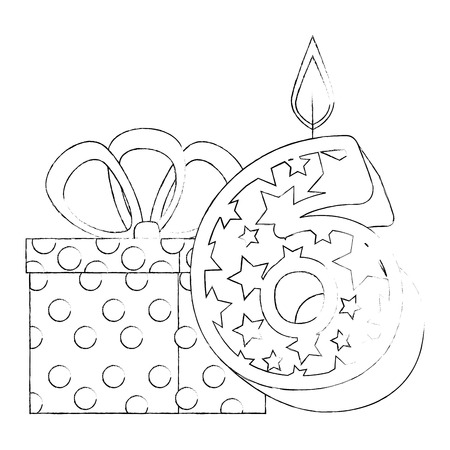 cute number six with gift vector illustration design