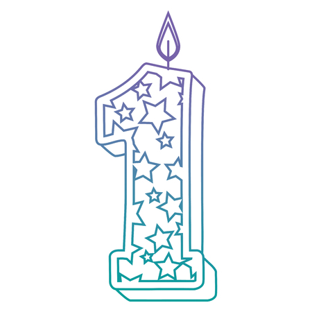 cute number one candle with stars pattern vector illustration design