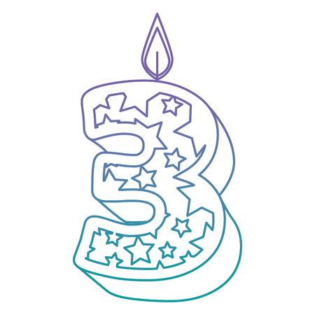 cute number three candle with stars pattern vector illustration design Illustration