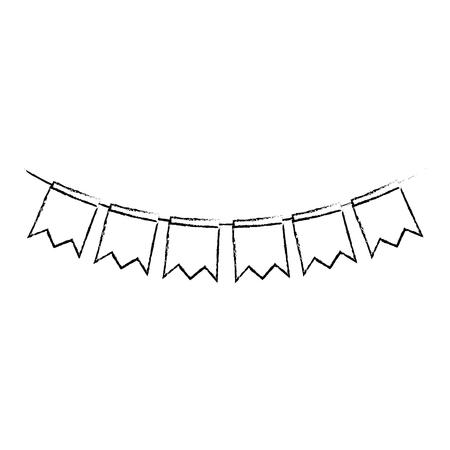 garlands hanging party decoration vector illustration design