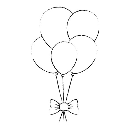 balloons helium floating with bow vector illustration design