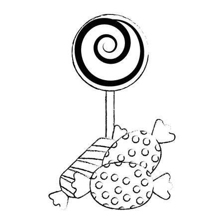 sweet lollipop and candies vector illustration design