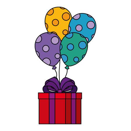 gift box present flying with balloons helium vector illustration design Illustration