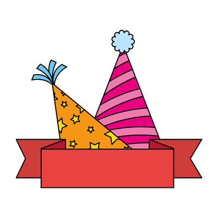 party hats celebration with ribbon vector illustration design