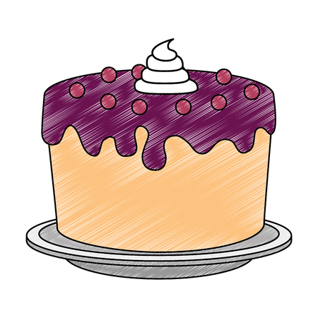 sweet and delicious cake vector illustration design Imagens - 103376031