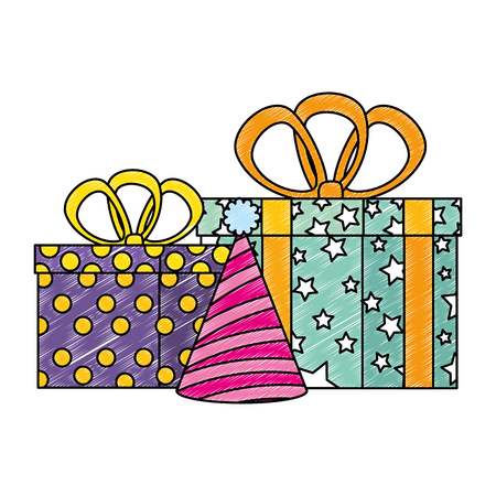 gifts boxes presents with hat party vector illustration design