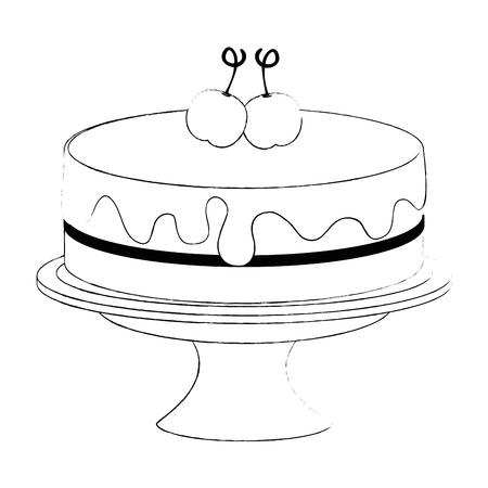 sweet and delicious cake with cherries vector illustration design Ilustração