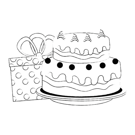 sweet and delicious cake with gifts presents vector illustration design