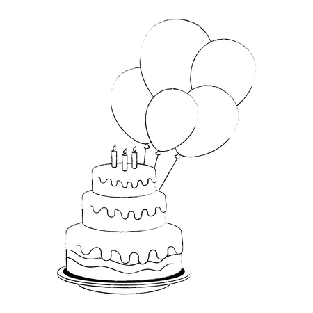 delicious cake with candles and balloons helium vector illustration design Ilustração
