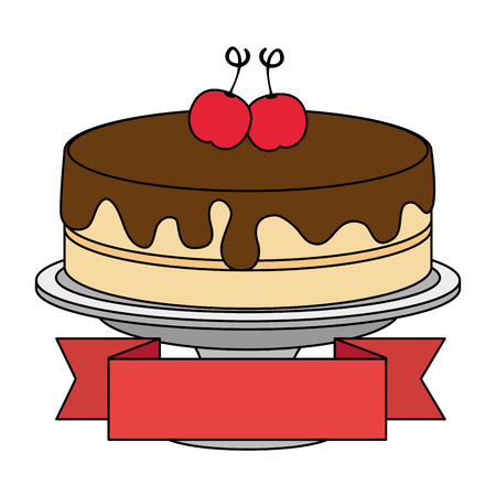 sweet and delicious cake with cherries and ribbon vector illustration design Stok Fotoğraf - 103326820
