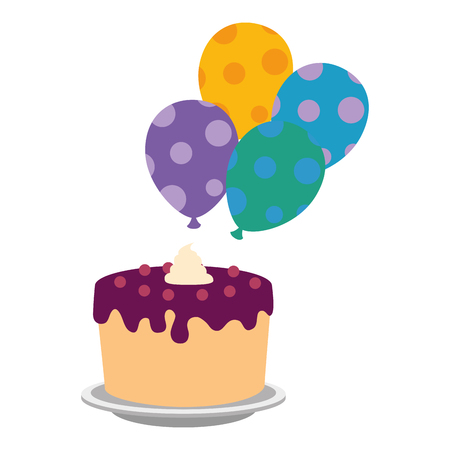 sweet and delicious cake with balloons helium vector illustration design