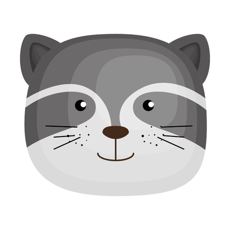 cute raccoon head character icon vector illustration design