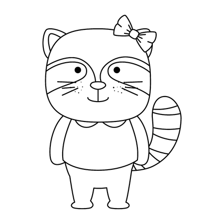 cute raccoon female character icon vector illustration design
