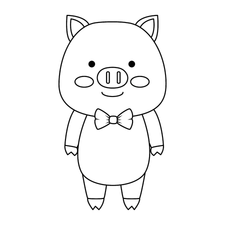 cute pig character icon vector illustration design