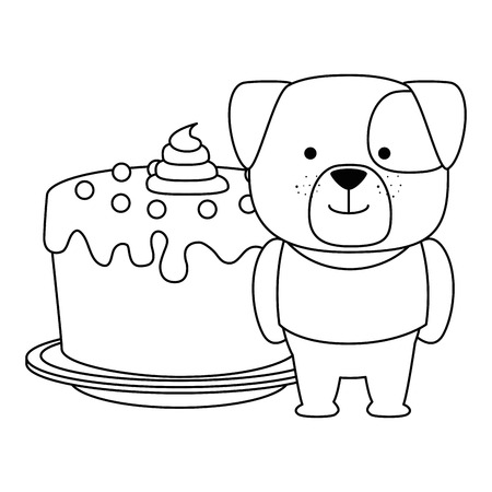 cute dog with sweet cake character vector illustration design Illustration