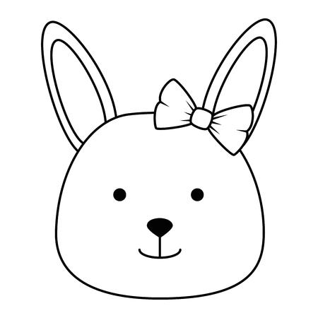 cute female rabbit head character icon vector illustration design Illustration