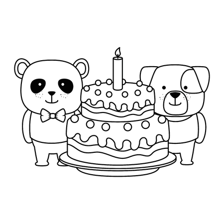 cute bear panda and dog characters vector illustration design