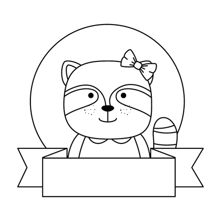 cute raccoon character with ribbon vector illustration design